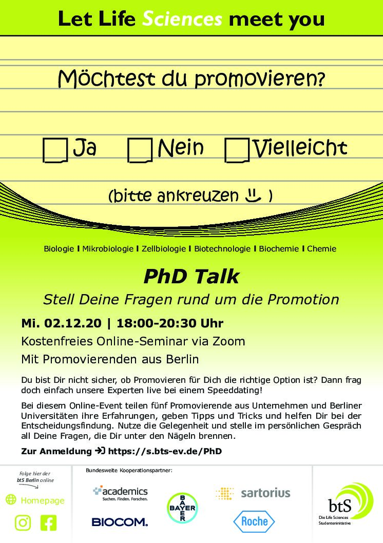 PhD Talk – Mi. 02.12.20 | 18:00 – ­20:30 Uhr
